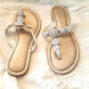 palms slide slip on sandal shoes jeweled size 8